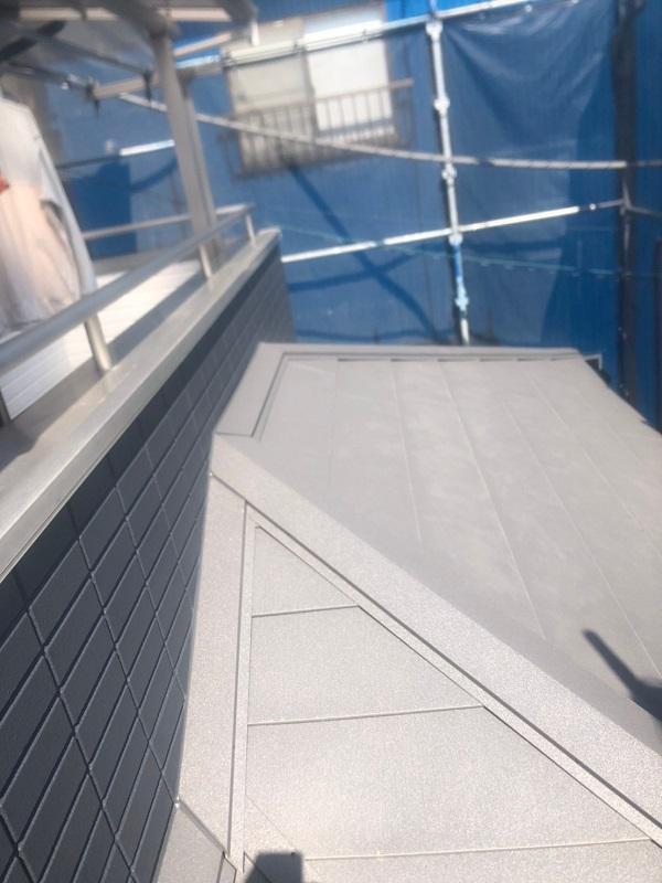 千葉県市川市 屋根葺き替え工事 防水シート(ルーフィング)張り 屋根材設置 ガルバリウム鋼板 (9)