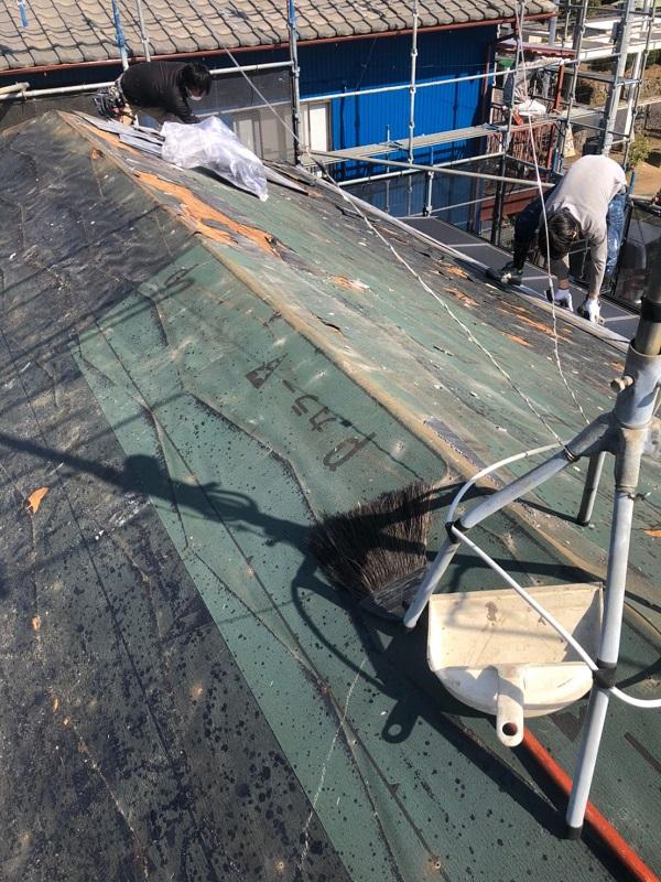 千葉県市川市 屋根葺き替え工事 屋根材撤去 工程 (2)